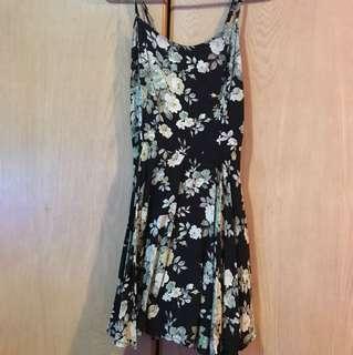 floral black romper dress