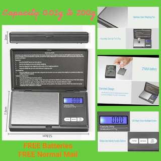🌟 Pocket / Digital Weighing Scale (0.01g to 200g) FREE Batteries & Free Mailings