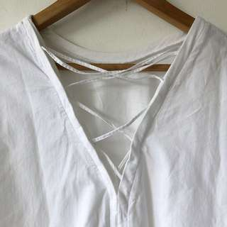 Zara Combined Material Shirt with Lace Up Design