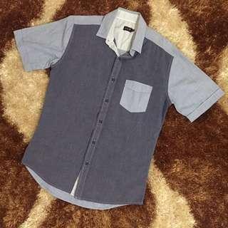 two tone blue shirt