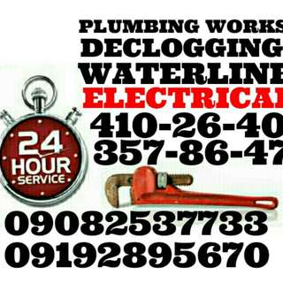 Open anytime plumbing declogging Electrical service