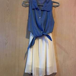 two toned blue and white dress