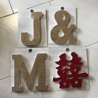 BN Glittered Wooden Letterings and Double Happiness
