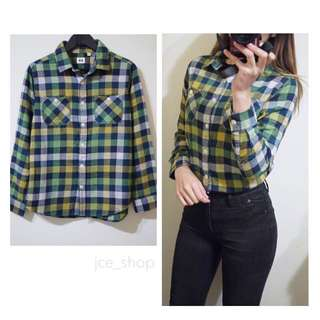 UNIQLO日本品牌綠色系格紋棉質柔軟長袖開扣襯衫上衣kids150號/XS號
