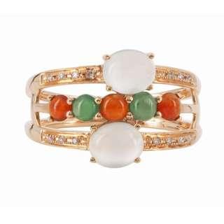 【久大御典品MY060917-1】天然翡翠戒指 美麗動人 鑽石14粒;翡翠7粒