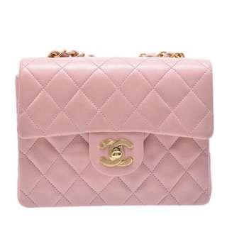 Chanel 超罕見羊皮粉紅色24k金扣17cm預定
