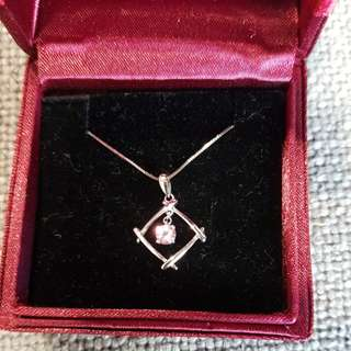 Pink gem pendant with chain