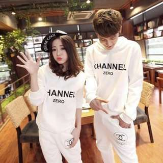 [BN] [1 INSTOCK] White Channel inspired Jumpsuit *Sweater and Sweat pants*