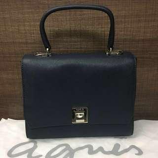 全新 Agnes B Bag 深紫藍色銀扣 兩用袋