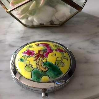 Peranakan Yellow Pocket Mirror