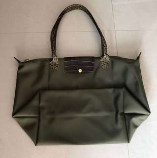 BN Longchamp Synthetic Trimmed with Crocodile Style Calfskin