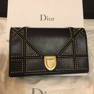 Authentic Dior WOC Black Studed
