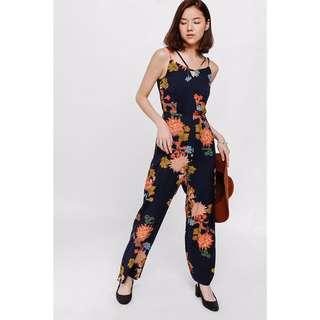 LOVE BONITO Giara Strappy Floral Print Jumpsuit