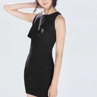Zara black dress w ruffle detail