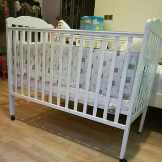 Baby Cot with Latex mattress , white