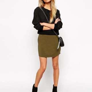 ASOS green mini skirt