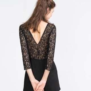 Zara black lace jumpsuit dress