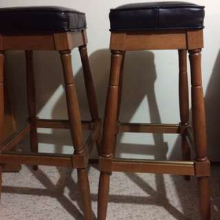 Leather and dark wood bar stools