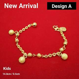 3 Designs KIDS Emas Korea Pure 24K Gold Plated Bracelet (Rantai Tangan)