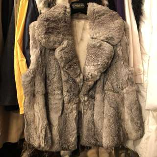 Rabbit fur vest cardigan