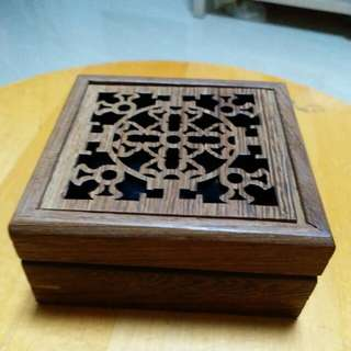 Happy Box made of teak wood by handcarving.