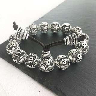 S990 Silver Mantra Beads Bracelet
