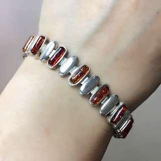Silver embedding with Amber Honey Stone Bracelet