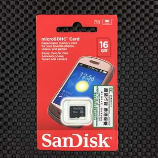 SanDisk micro SD 16GB SDHC Memory Card 16G TF T-Flash 16 GB 記憶卡 Class 4 送 Adapter
