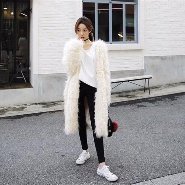 韓版毛毛外套中長款大衣2017秋冬新款百搭仿灘羊毛顯瘦皮草外套