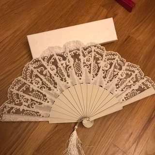 Spanish Flamingo dance 💃🏻 fan (white lace)