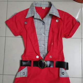 Red cool overall dress