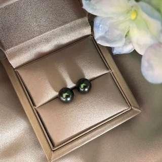 18K 大溪地黑珍珠耳環
