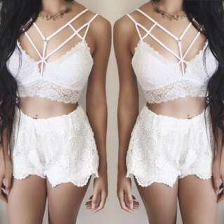 Caged Lace Bralette (White) One Size - Stretchy