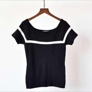女装上衣U领短袖插肩针织衫短款薄款条纹撞色T恤 黑色 top