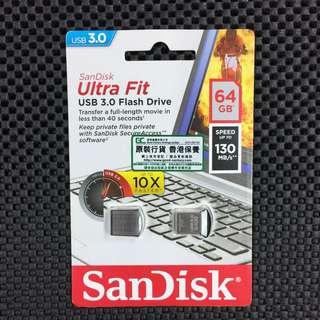 全新行貨 SanDisk Ultra Fit USB 3.0 Flash Drive 64GB 130MB/s USB 手指