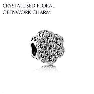 PANDORA Crystallised Floral Openwork Charm