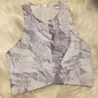 White/Grey Print Crop