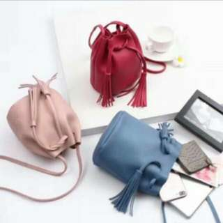 KOREAN TASSEL DRAWSTRING BUCKET BAG