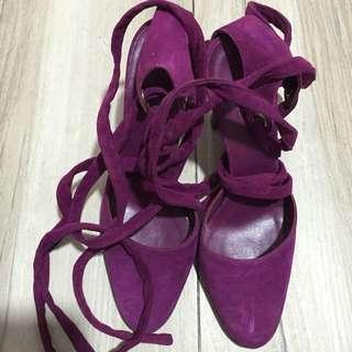 Gucci 全新 紫色麂皮綁繩高踭鞋 size 35 Purple Suede Pump