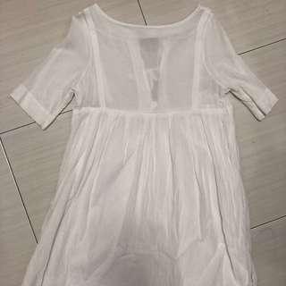 後綁帶白色亞麻洋裝