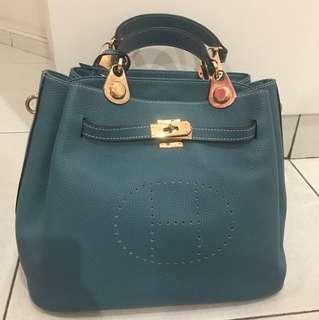 HERMES Blue Handbag