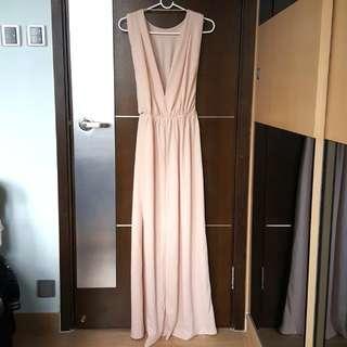 Cream goddess backless long gown dress 米色露背女神連身長裙