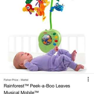 Fisher Price (used) Rainforest Peek-a-Boo Leaves Musical Mobile