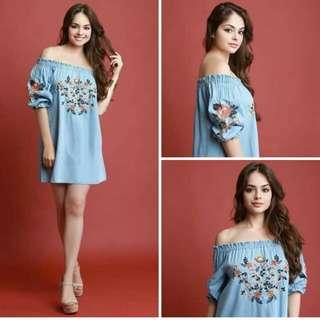 Light Denim Off Shoulder Dress (Floral Embroidered)