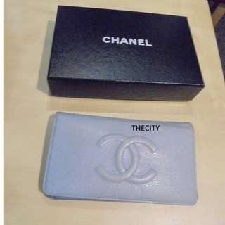 AUTHENTIC CHANEL CAVIAR LEATHER LONG WALLET