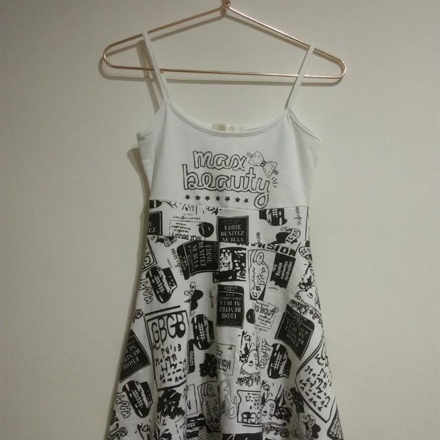黑白塗鴉小洋裝
