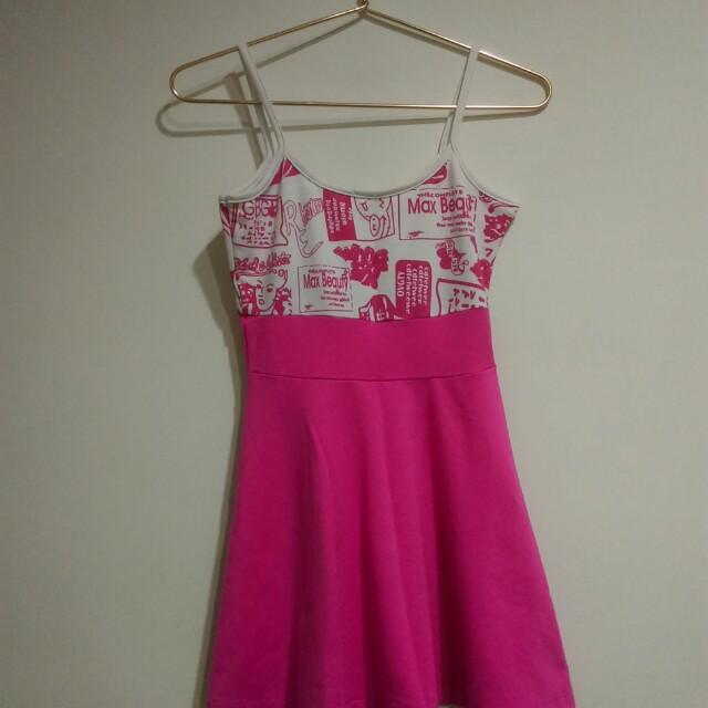 粉色塗鴉小洋裝