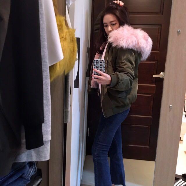 高質感粉色貂毛軍外套超保暖