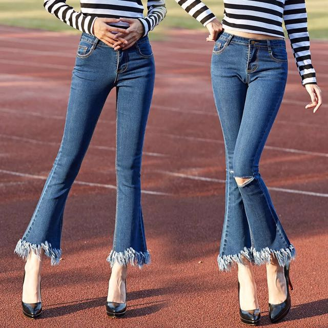 全新高腰破洞流蘇闊腿顯瘦九分喇叭褲