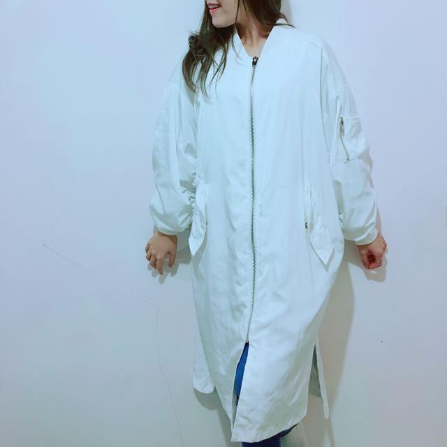 韓國白色長版防風外套